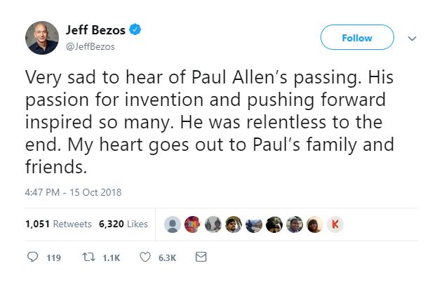 Jeff Bezos tweet on Paul Allen