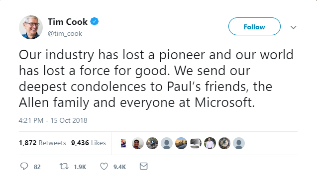 tim cook tweet on paul allen